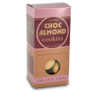 A 150 gram box of Organic Times Choc Almond Cookies