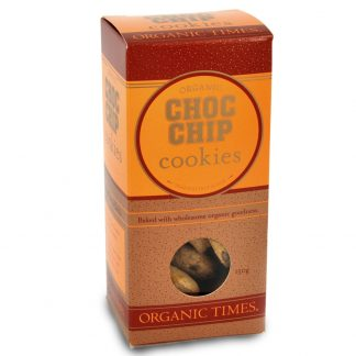 A 150 gram box of Organic Times Choc Chip Cookies