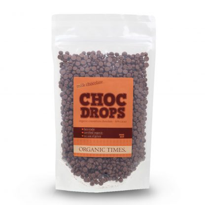 A 500 gram bag of Organic Times Milk Chocolate Drops