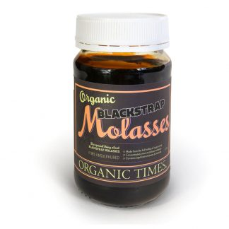 A 450 gram jar of Organic Times Blackstrap Molasses