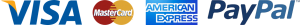 Accepted payment logos, Visa, MasterCard, Amex, Paypal