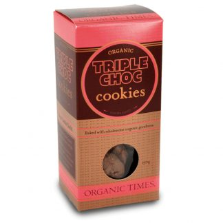 A 150 gram box of Organic Times Triple Choc Cookies