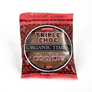 A 60 gram Organic Times Triple Choc Cookie