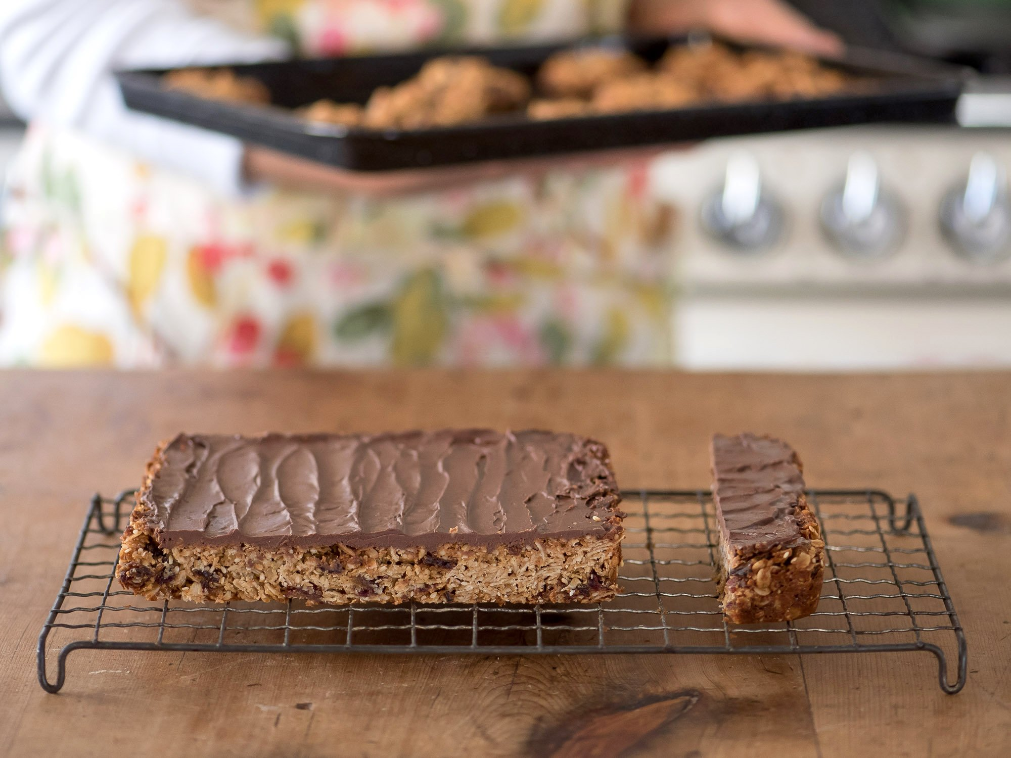 A Tray of salted sesame, dark chocolate, tahini and date bars.