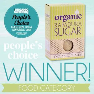 A box of Rapadura Sugar with Good Organic Magazine award