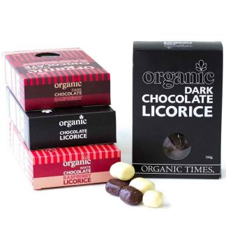 Organic Times collection of chocolate coated licorice products.