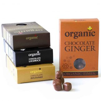 A collection of Organic Times Milk Chocolate coated products