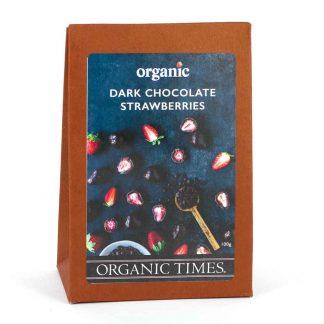 A 100 gram box of Organic Times Dark Chocolate Strawberries