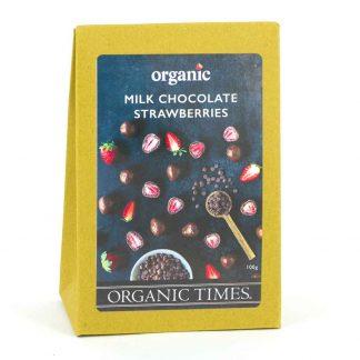 A 100 gram box of Organic Times Milk Chocolate Strawberries