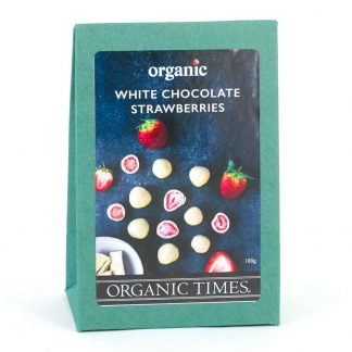 A 100 gram box of Organic Times White Chocolate Coated Strawberries