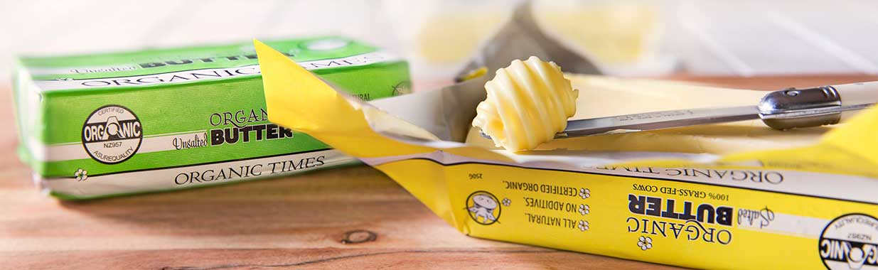 Organic Times Salted and Unsalted Butter packs with knife and butter curls