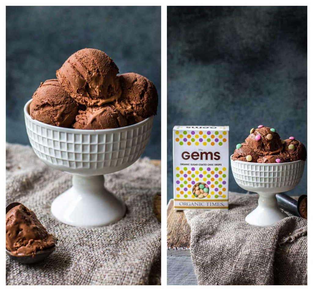 Pictures of chocolate ice-cream with little gems